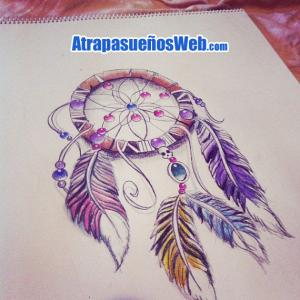 atrapasuenos dibujos con abalorios plumas calaveras